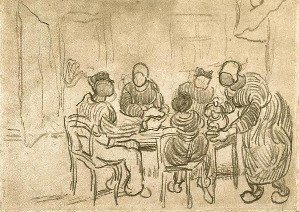 Bosquejo de la pintura Los comedores de patatas de Vincent Van Gogh ...
