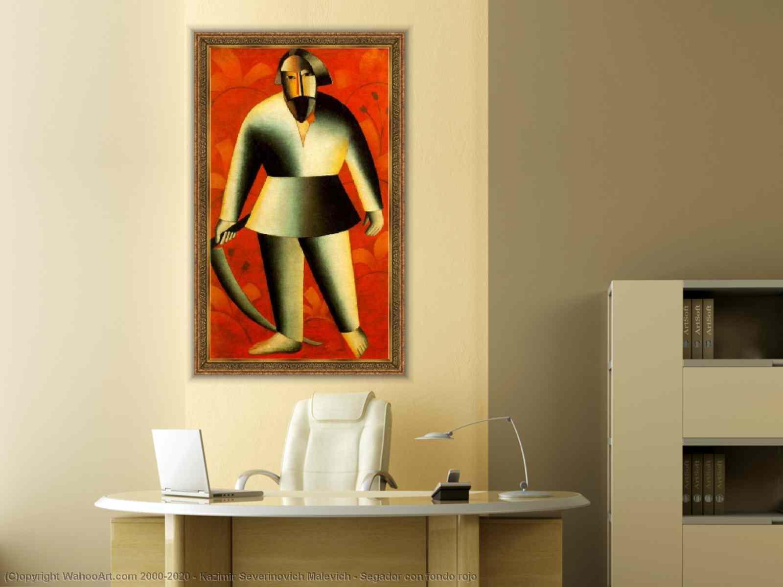 Kazimir Severinovich Malevich - Segador estafa fondo rojo